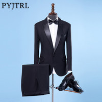 PYJTRL Men Classic Shiny Closure Collar Black Wedding Groom Groomsman Suits Stage Singer Tuxedo Terno Slim