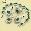 XUTAAYI 925 Silver Jewelry Sets Green Imitated Emerald Shining Flowers Necklace/Bracelet/Earrings/Ring Wedding Jewelry For women