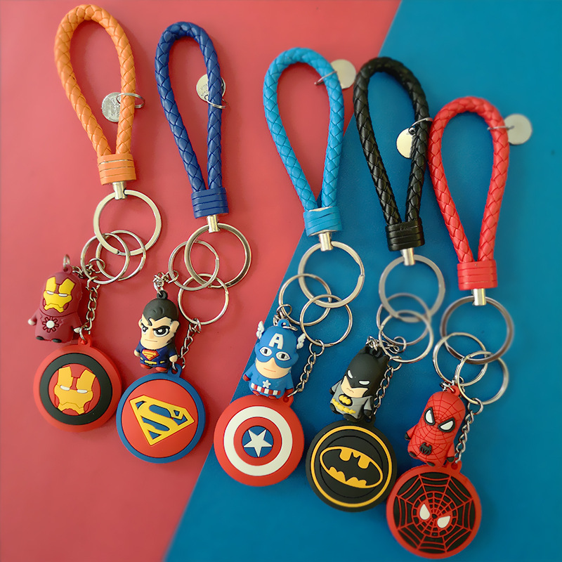3D Cartoon Figure PVC Marvel Avengers Keychain Cute Superhero Batman Spider Man Key Chain Key Ring Kids Key Holder Trinket Gift