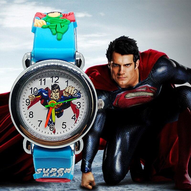 2019 New Edition 3D Cartoon Superman Watch Children Kids Watches For Girls Boys Gift Child Students Clock Quartz Wristwatches