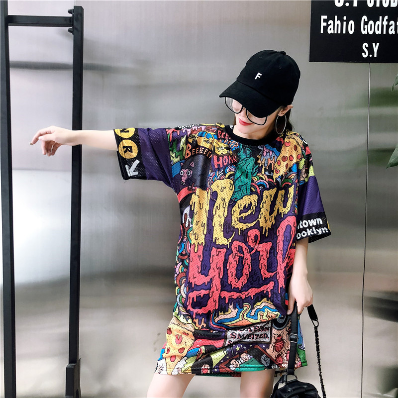 2020 <font><b>Rock</b></font> Women's Harajuku Letter Short Sleeve <font><b>T</b></font>-<font><b>Shirt</b></font> <font><b>Dress</b></font> Punk Medium Long Large Size <font><b>Dress</b></font> Summer 3D Pattern Cool Top image
