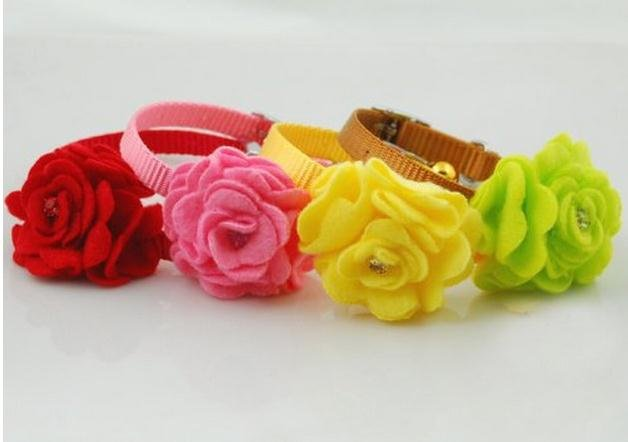 Pet Collar and Leash  Dog Collar Cravat Dog Neckwear Dog Rose Necklace 4 Colors(4pcs/set)
