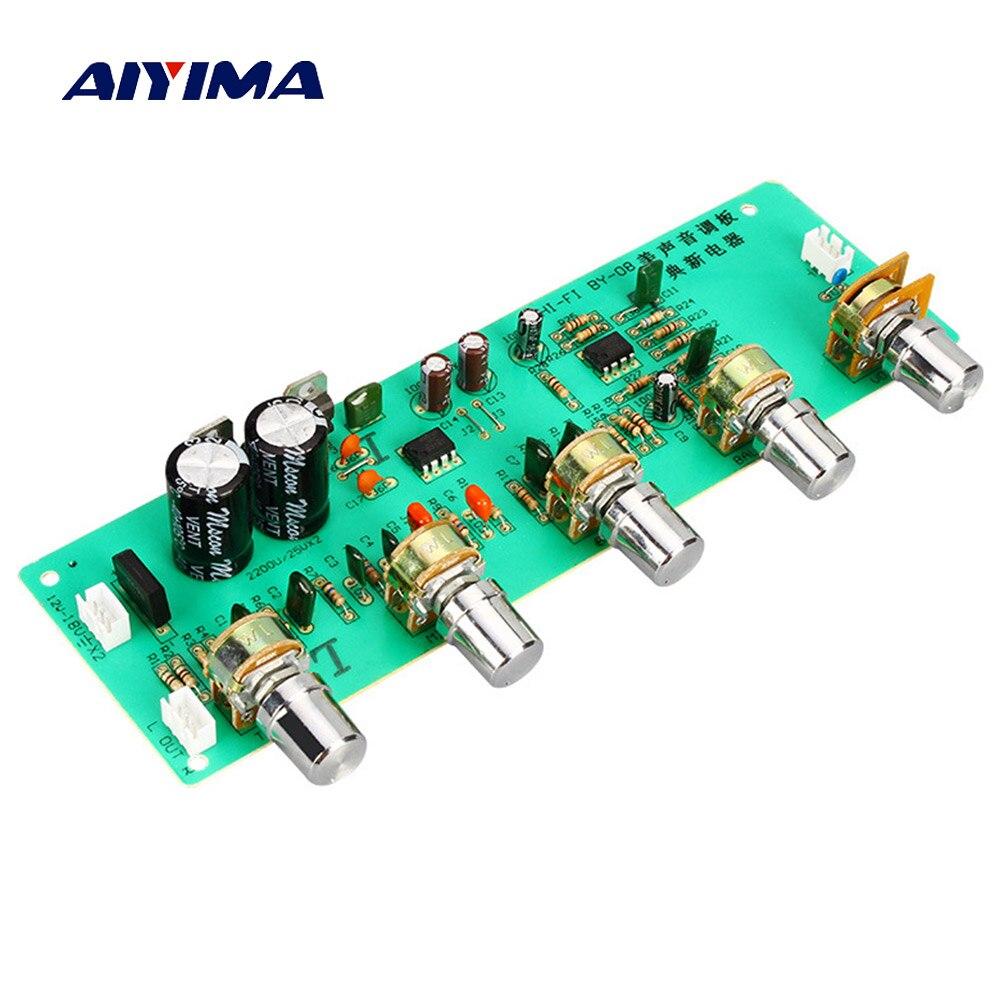 AN4558 AIYIMA 2.0 HIFI de Áudio Amplificador Board Baixo Midrange Agudos Equilíbrio ajustável Áudio Preamp Board Com Controle De Tom