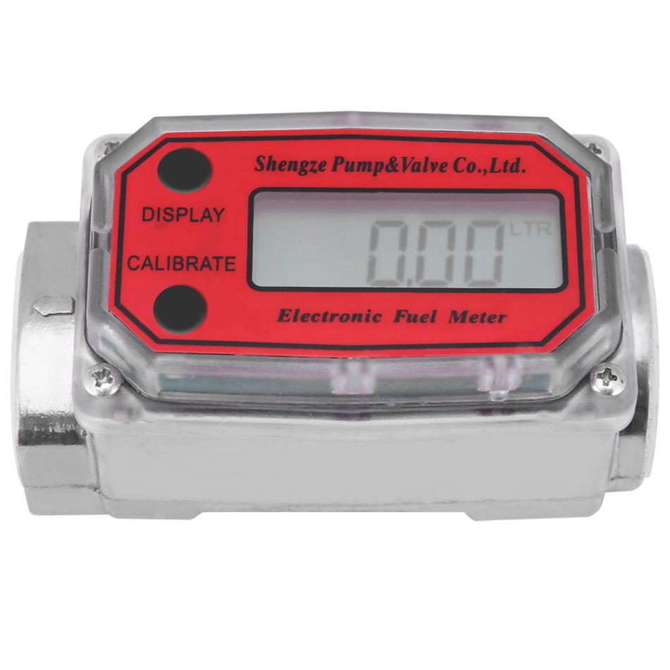"Automobiles Sensors Air Flow Meter Provided 1""npt Digital Turbine Flowmeter 15-120l Diesel Fuel Flow Tester Npt Indicator Sensor Counter Liquid Water Flow Measure Tools Removing Obstruction"