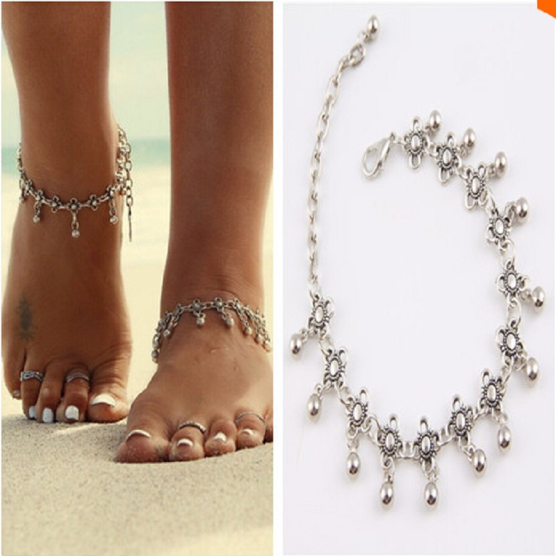 New Charm Anklets for Women Vintage Foot Jewelry Ancient Silver Plated Flower Ankle Chain