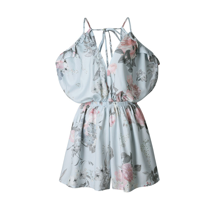 Cssayavi 2017 summer Sexy beach playsuit Off shoulder overalls elegant floral print jumpsuit romper women outfit 5