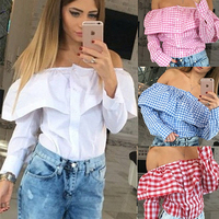 4 color xl plus size Fashion Casual Ruffles Slash Neck Plaid Long Sleeve Cotton blouse Sexy off shoulder Women tops shirt