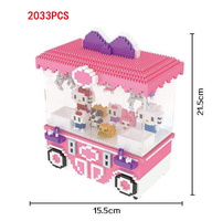 Funny game double player UFO Catcher micro diamond building block mini claw arcade crane nanoblock kitty CAT doll bricks toys