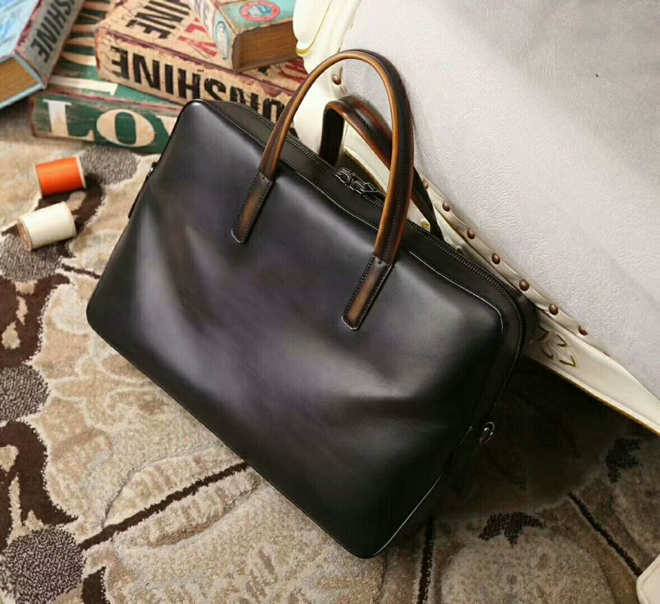 Vintage Cowhide Meridien Leather Briefcase Men Business Laptop Tote Bags Casual Men's Leather Messenger Shoulder Bag Handbags