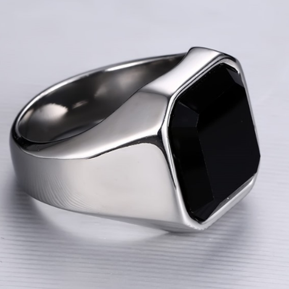 Square Black Crystal Stone Thick Band Ring Men In Titanium Stainless Steel Silver Color Brief Style Mens Jewelry Large Size