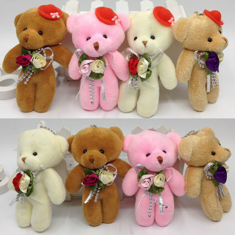 12cm x12pcs Lovely Plush Teddy Bear With Flower and Cap <font><b>Soft</b></font> <font><b>Toys</b></font> <font><b>Key</b></font> chain/Bouquet/Phone/Bag/Decorative Accessories gift image