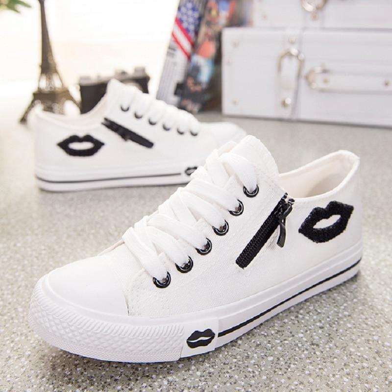 Vulcanize Casual Canvas Shoes Basket Femme White Sneakers Women Zip Lips Shoes Dames Schoenen Trainers Flats Zapatos Mujer