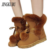 JINGKUBU Women Winter Boots Female Butterfly Knot Snow Ankle Boots Flock Fur Plush Ladies Shoes Bottes