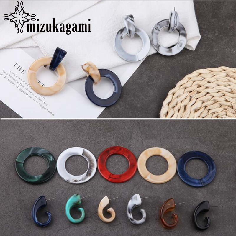 Retro Resin Earrings Marble Texture Round Circle Ring Charms 10pcs/lot For DIY Drop Earrings Jewelry Making Accessories