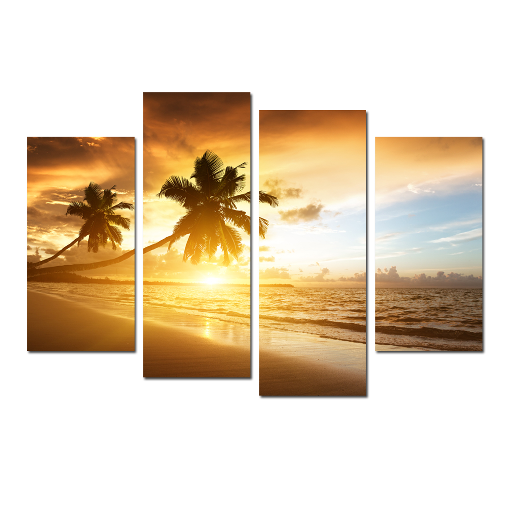 FREE SHIPPING Modern Sunset Seascape Paintings Art On Canvas Coconut Tree On Beach Canvas Paintings Home Decoration Wall Hanging