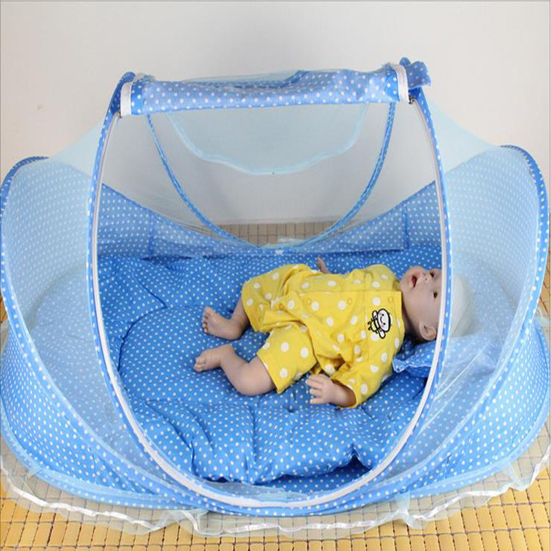 Baby Bed With Pillow Mat Set Portable Foldable Crib With Netting Newborn Cotton Sleep Travel Bed