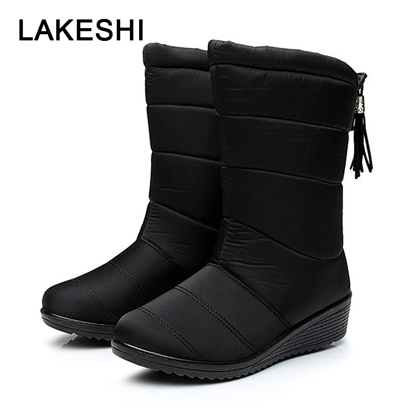 Women High Boots Mid Calf Boots Women 2018 Winter Boots Female Warm Snow Boots Fashion Slip On Waterproof Wedge Ladies Shoes 2015 new arrival fashion women winter snow boots warm ladies shoes bowtie slip on soft cute shoes purple color sweet boots