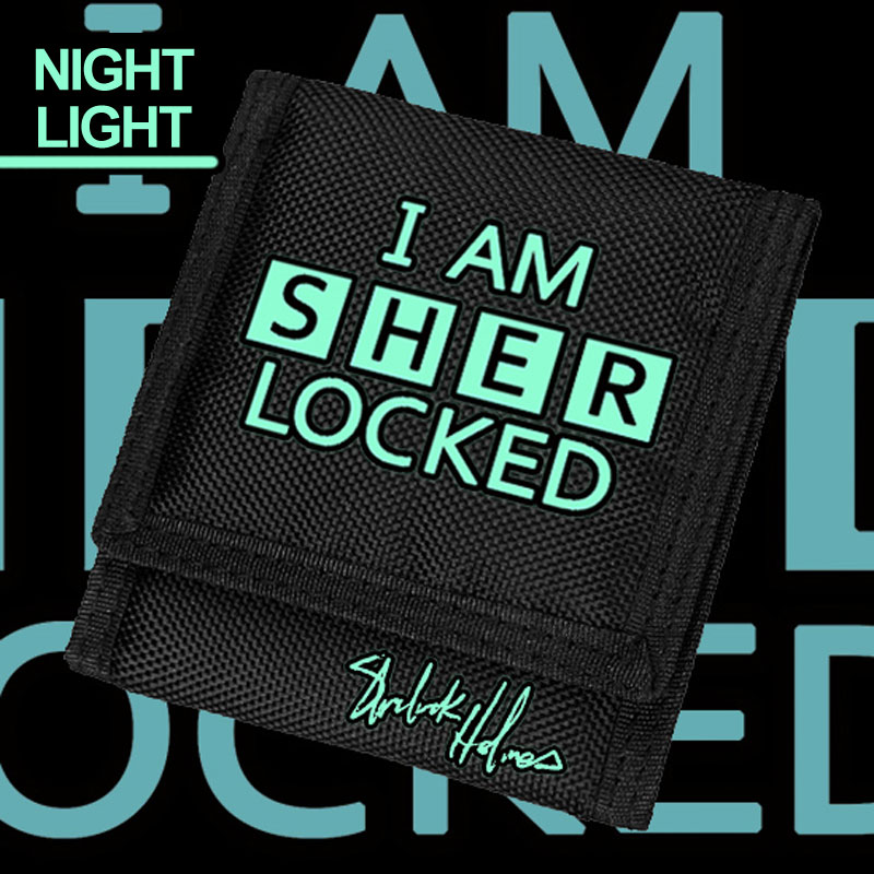 MeanCat Im Shelock Holme Short Wallet in Black and Noctilucence