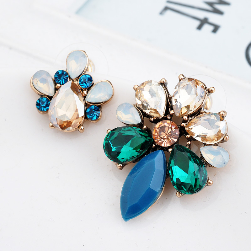 Vintage Punk Style Fashion Flower Stud Earrings Gold Plated Crystal Diamante Women Asymmetry Earrings Gifts For Girl (2)