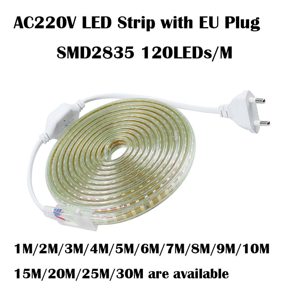 220V font b LED b font Strip 2835 120Leds M IP67 Waterproof With EU Power Plug