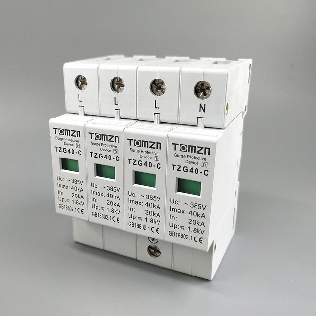 Dispositif de protection contre les surcharges | AC SPD 3P + N 20KA ~ 40KA C ~ 385V, protection contre les surcharges et les basses tensions