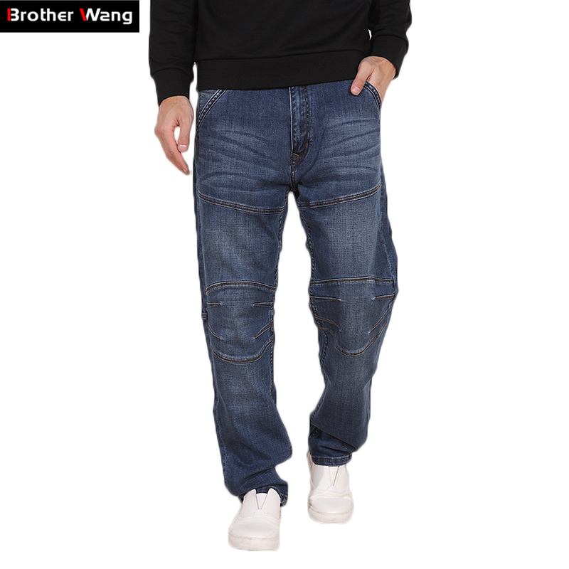 Brother Wang Men's Straight Jeans Fashion Stretch Casual Hip Hop Street Stitching Jeans Large Size 44 46 48 Brand Pants hot new large size jeans fashion loose jeans hip hop casual jeans wide leg jeans