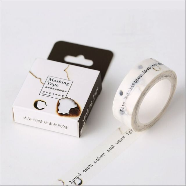 1.5mm Width You Are In My Love Poems English Letters Washi Tape Adhesive Tape DIY Scrapbooking Sticker Label Masking Tape