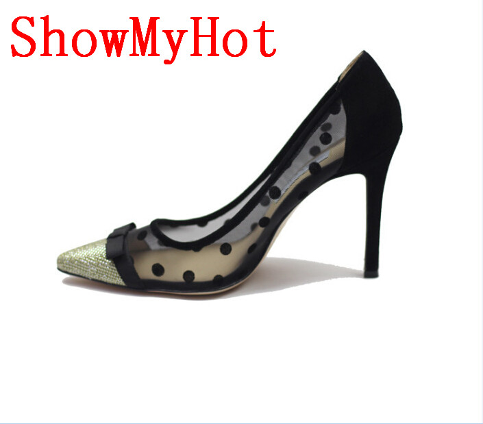 ShowMyHot Top Quality High Heels Shoes lace Women Pumps Sexy Pointed Toe Women Shoes Chaussure Escarpins