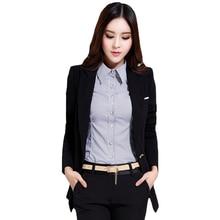 AISHGWBSJ Autumn Long Sleeve Women Blazers Coat Green Black Lady Blazers Jackets Suit One Button Slim Work Wear Blazers QYX204