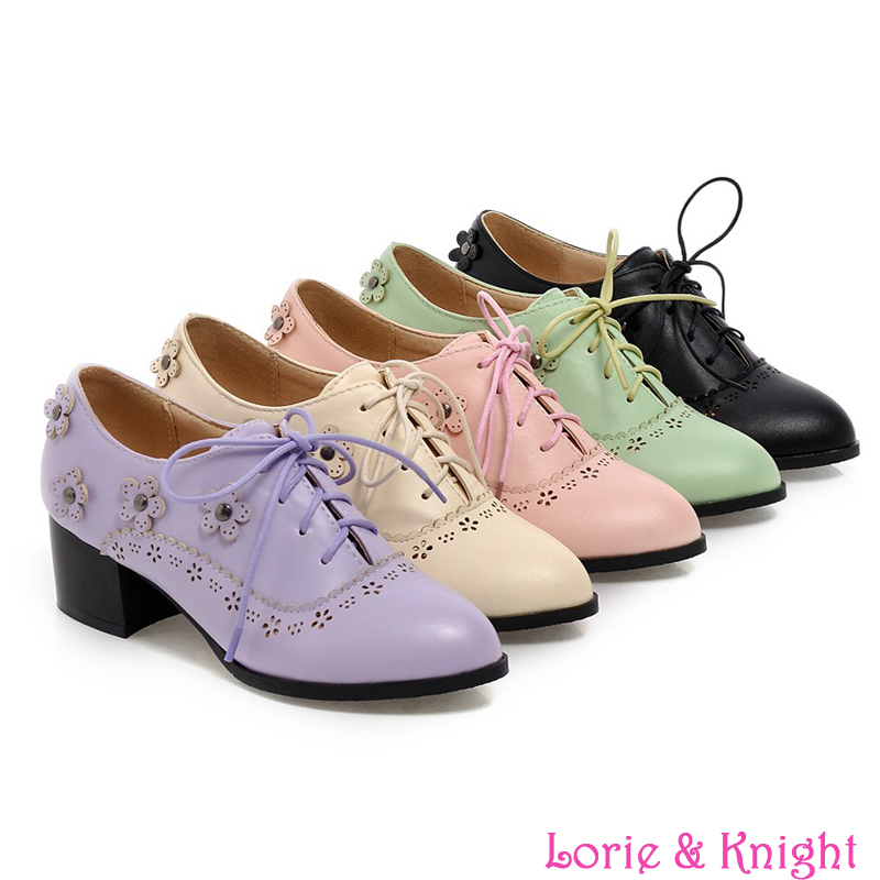 ФОТО British Pointed Toe Sweet Lolita Retro Carving Flower Shoes Women Chunky Lace Up Oxford Shoes