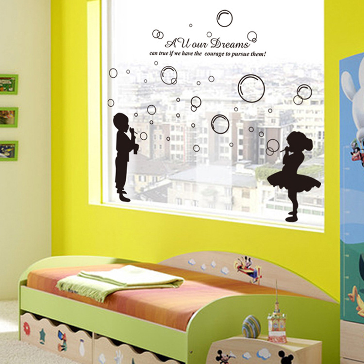 Waterproof Carton Bubble Boy And Girl Wall Stickers Kids Room ...