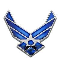 USAF U S Air Force Blue Silver Chrome Metal Car Styling Emblem Arm Badge 3D Sticker