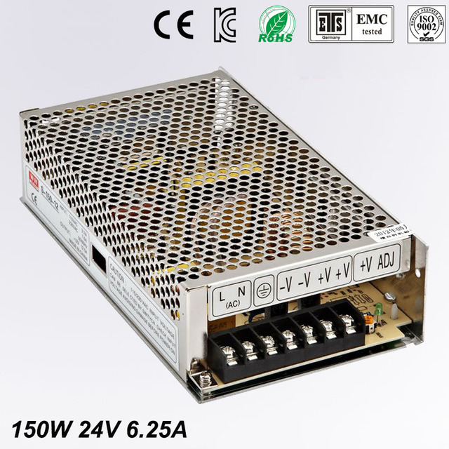 Single Output Uninterruptible Adjustable 24V 150W Switching power supply unit 110V 240Vac to dc smps for LED Strip light cnc