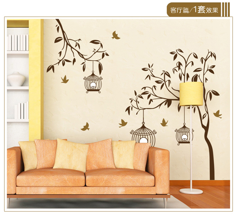 Black Birds Tree Wall Stickers for TV Sofa Background Living Room ...