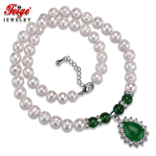 Classic Green Pendant Necklaces for Women 8-9MM White Natural Freshwater Pearls Chorker Necklace Fine Jewelry Wholesale FEIGE