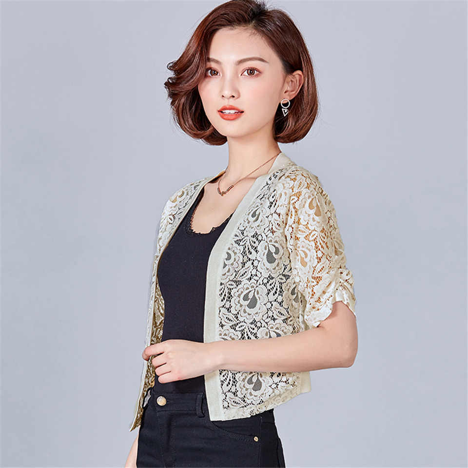 ... Summer Women Lace Kimono Cardigan White Shirts Casual Half Sleeve Lace  Blouse Lady Office Shirt 2018 ... 4d96e6ab18c7