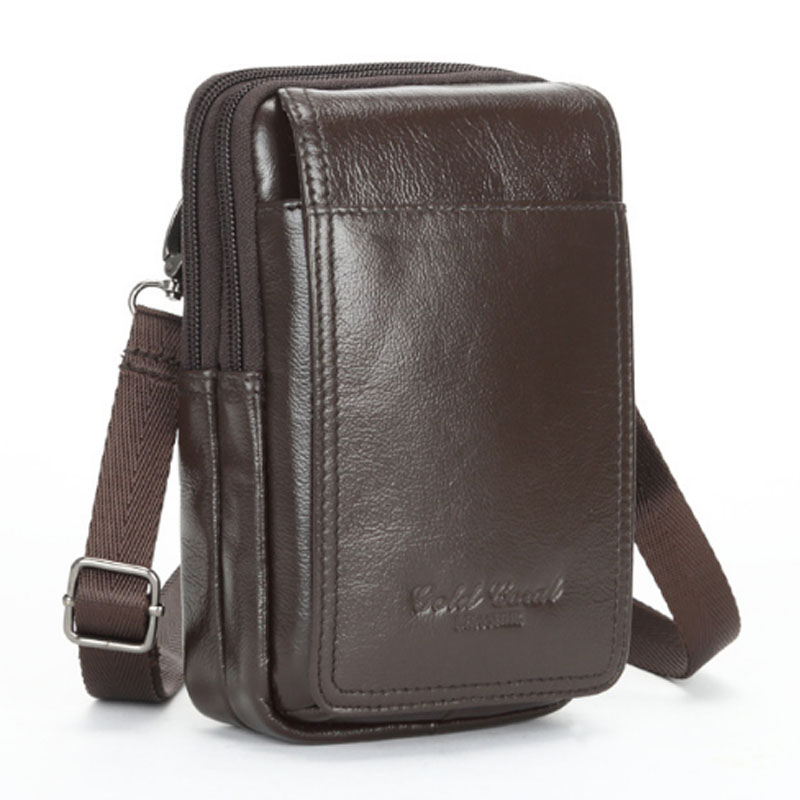 Fashion New Genuine Leather Men Cross Body Shoulder Bags Waist Bag Cell/Mobile Phone wallet Belt Fanny Pack Male/Military Bag animob a08 119 fashion wallet hand bag cell phone cosmetic storage bag deep blue
