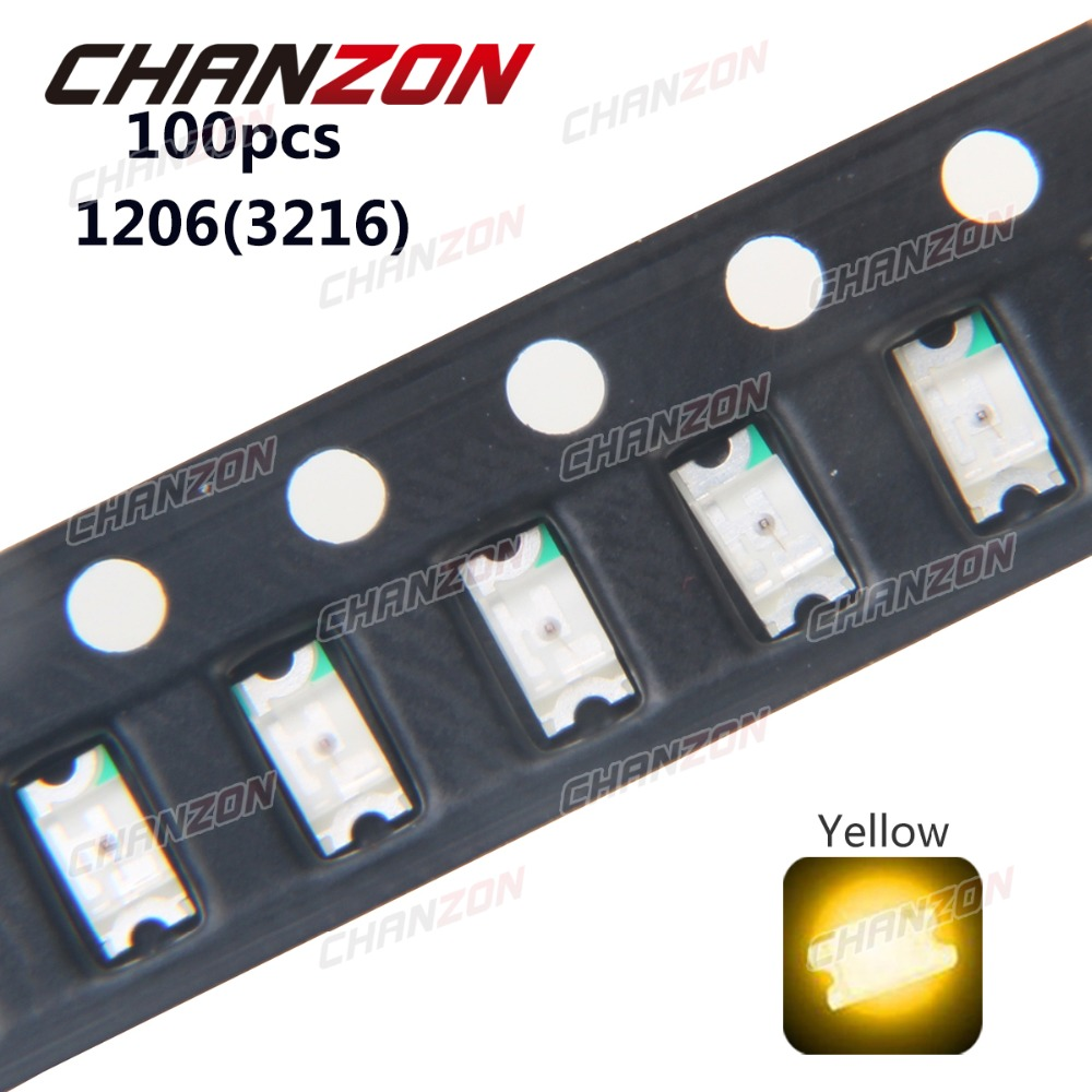 100pcs SMD 1206 (3216) Yellow SMT Surface Mount LED Chip Ultra Bright Light Emitting Diode Lamp Electronics Components for PCB