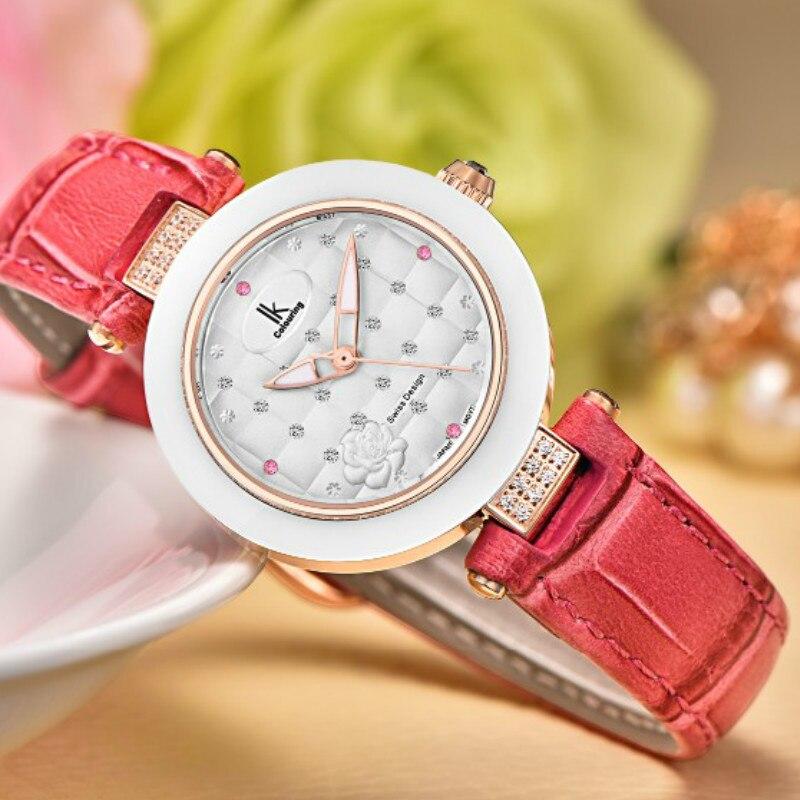 White Ceramic Bezel Women Watch Design Japan Quartz Diving Waterproof Genuine Leather Ladies Watches with Gift Box
