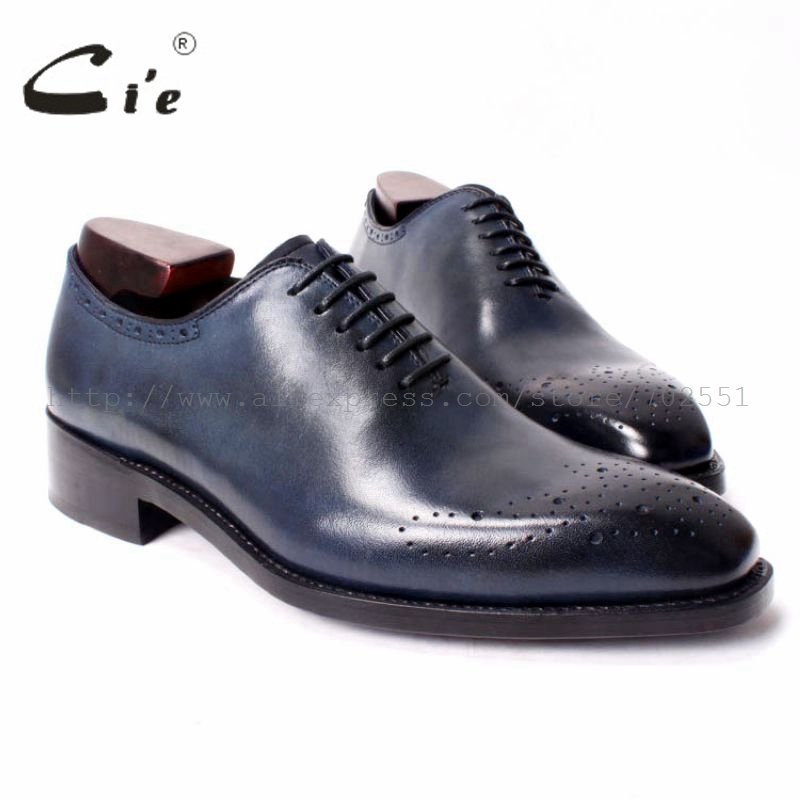 cie Square Toe Whole Cut Medallion Patina Navy Handmade Men's Goodyear Welted 100%Genuine Calf Leather Lace Up Oxford Flat OX291