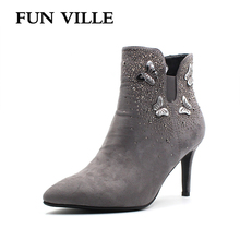 FUN VILLE 2018 New fashion Autumn winter Crystal Women Ankle Boots Hign quality Flock Pointed Toe Zipper Ladys shoes Size 35-42