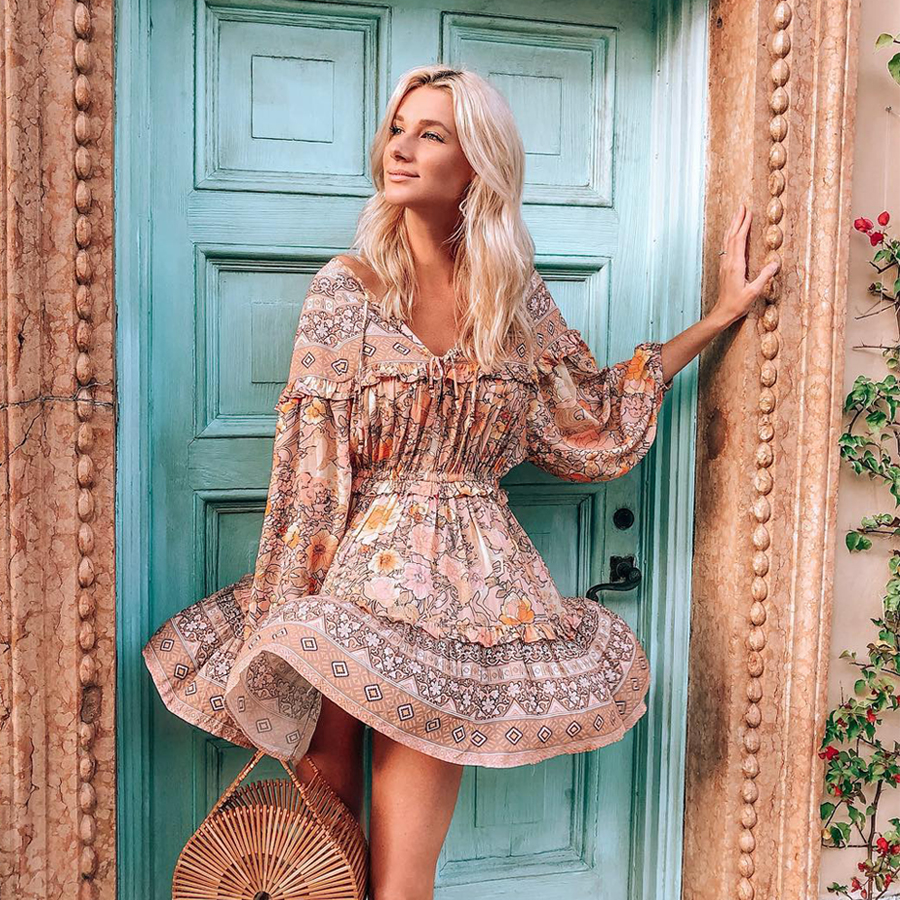 TEELYNN Gypsy dress 2019 rayon amathyst floral print summer Dresses mini short women dresses garden party BOHO Dress vestidos Платье