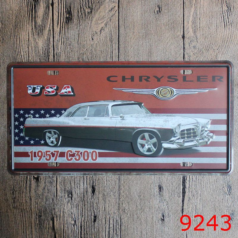 Direct selling Vintage license plate 1957 C300 Wall art craft metal painting vintage Iron for bar home decor 15X30 CM