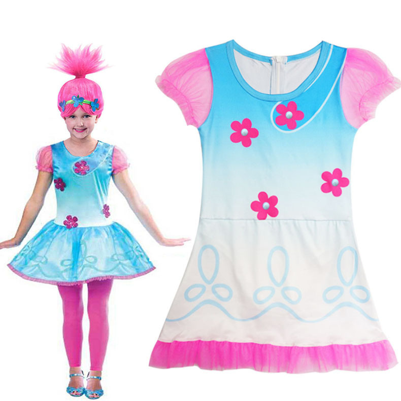 Girl Kids Trolls Poppy Dress Cosplay Costume Magic Children Swimming Suit Sandy Beach Sw ...