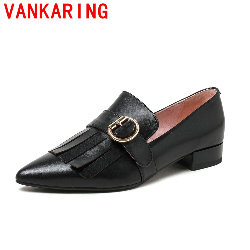 ФОТО VANKARING shoes 2017 sweet style fashion black pointed toe metal decoration comfortable shoes Simple fashion shoes all-match