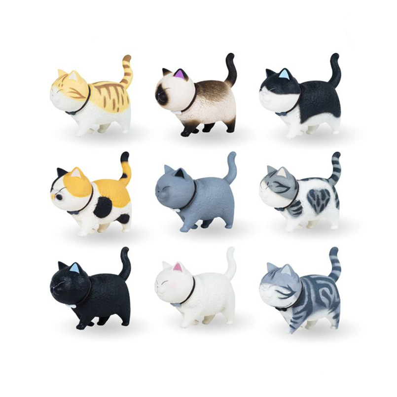 1pcs cute Cat bell PVC action figure toys mini lovely anime cat figure toy colllectible Decoration model toys gift for children image