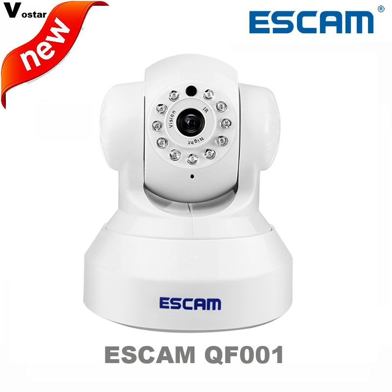 ESCAM wifi camera QF001 Plug&Play P2P Wireless WiFi Pan Tilt IR Cut Two Way Audio Micro SD Card Slot 720P HD onvif IP CAMERA escam hd 720p wireless ip camera wifi pan tilt two way audio p2p ir cut night vision onvif cloud home security camera sd card