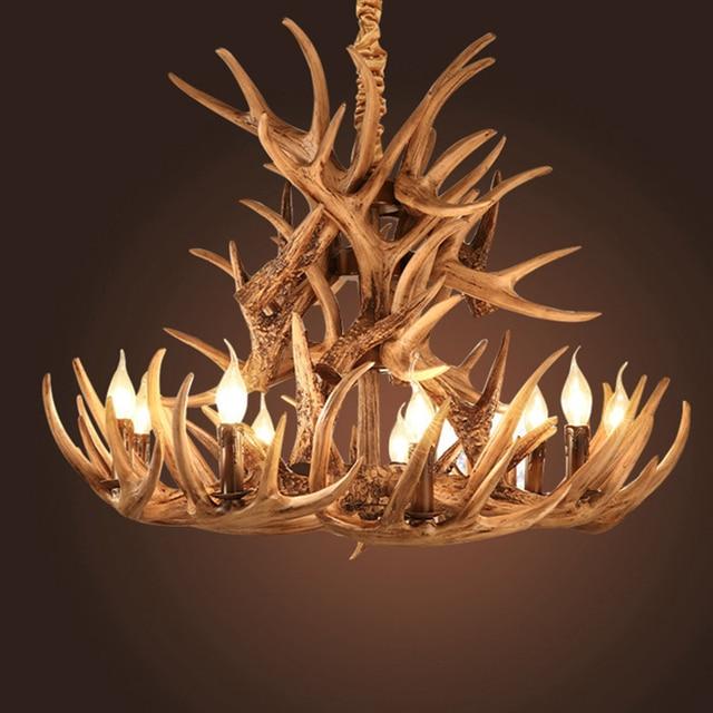 Elegant Brown Antlers Resin Chandelier Lamp Modern LED Antler Chandelier Lustre  Chandeliers E14 Vintage Lights Novelty Lighting