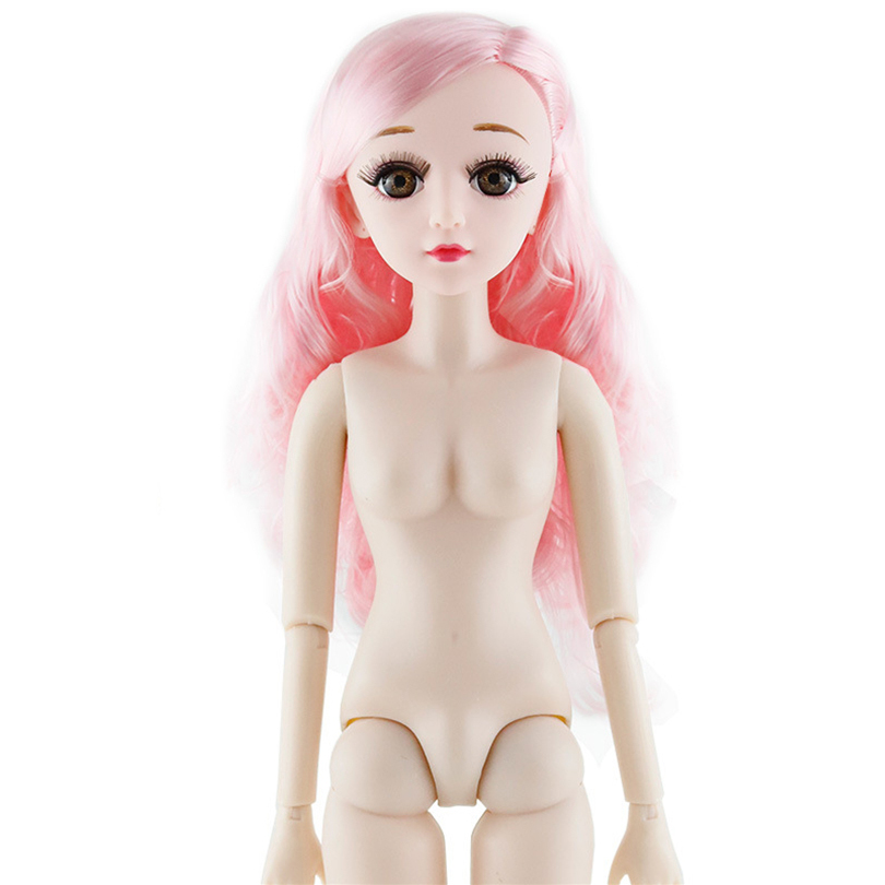 1 3 60cm Blue Eyes 21 Movable Jointed BJD Doll Female Naked Nuded Body 3D Eyelashes Head Doll Toys for Girls Gift in Dolls from Toys Hobbies