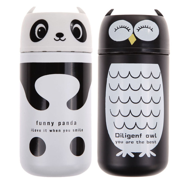 220ML Stainless Steel Vacuum Electrolytic Grinding Bottle Cute Portable Panda Owl Design Outdoor Camping Hiking Bottle